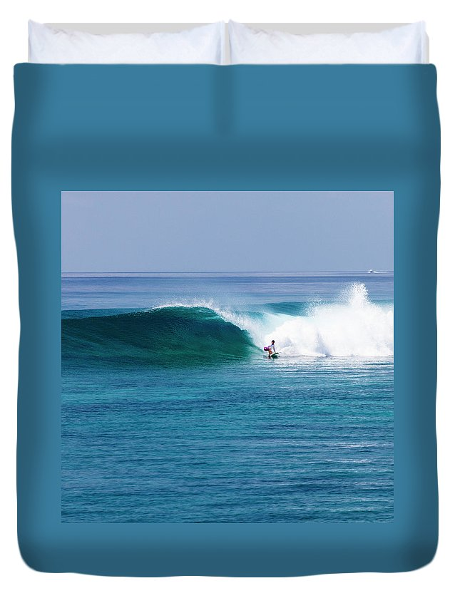 Recreational Pursuit Duvet Cover featuring the photograph Surfer Surfing A Wave by Subman