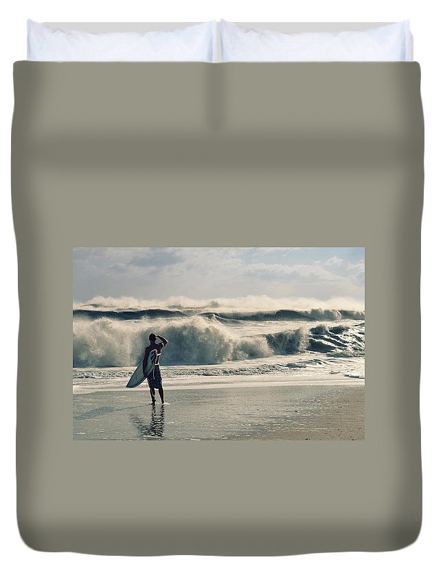Surfer Duvet Cover featuring the photograph Surfer Watch by Laura Fasulo