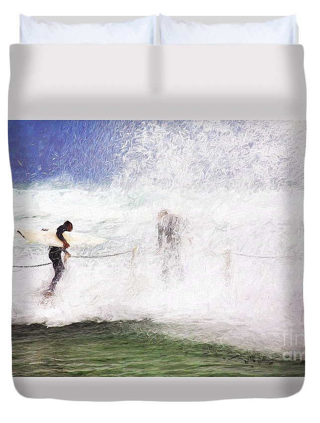 Surf Duvet Cover featuring the photograph Surfers at rockpool by Sheila Smart Fine Art Photography