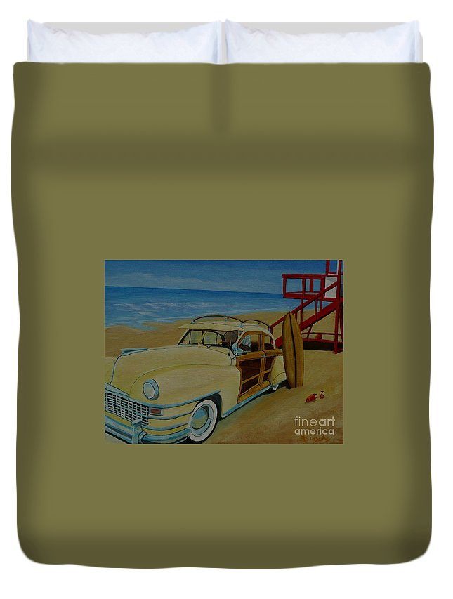 Woody Duvet Cover featuring the painting Surfers Woody by Anthony Dunphy