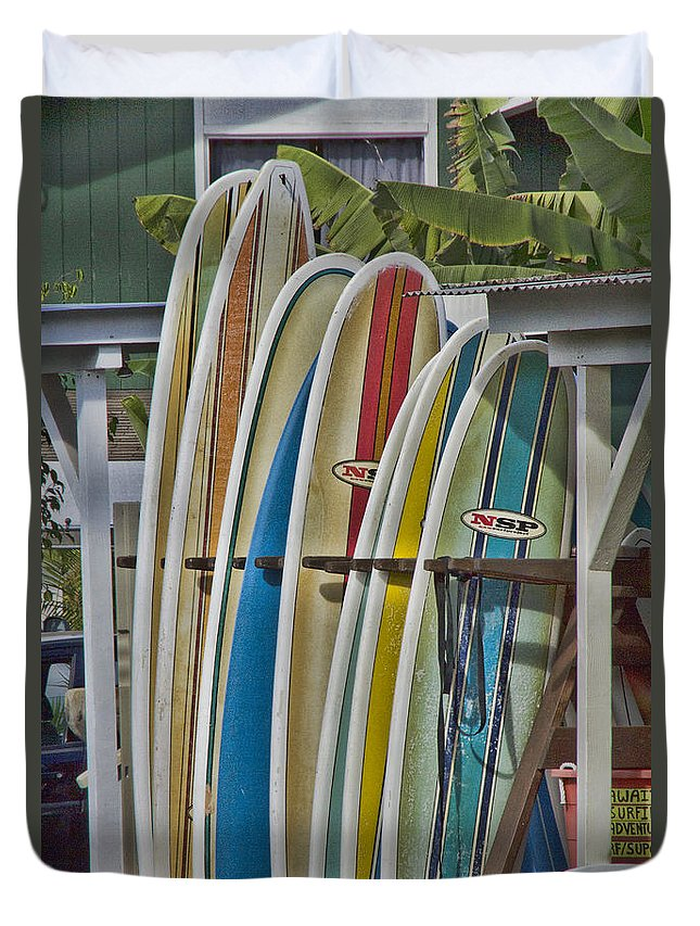 Surfboards Duvet Cover featuring the photograph Surfin Usa by Douglas Barnard