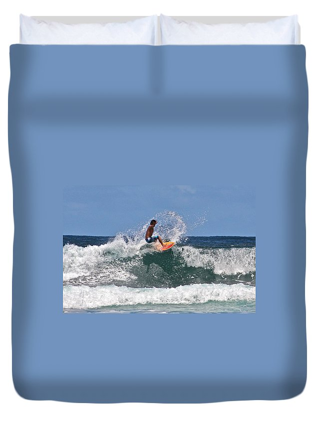 Awaii Duvet Cover featuring the photograph Surfing In Hawaii by Venetia Featherstone-Witty