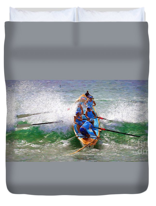 Surfer Duvet Cover featuring the photograph Surfing Lifesaving Boat by Sheila Smart Fine Art Photography