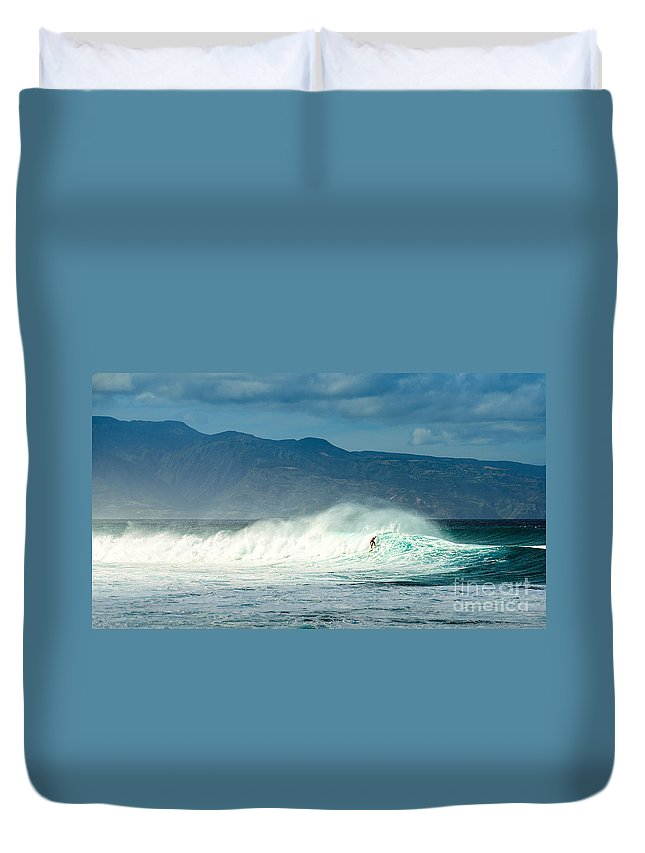 Hookipa Beach Duvet Cover featuring the photograph Surfing Light by Jamie Pham