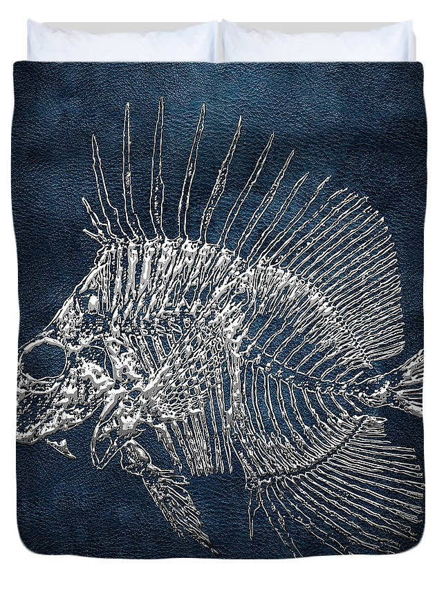 'precious Bones' Collection By Serge Averbukh Duvet Cover featuring the digital art Surgeonfish Skeleton In Silver On Blue by Serge Averbukh