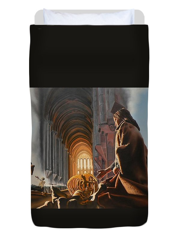 Surreal Duvet Cover featuring the painting The Cathedral by Dave Martsolf