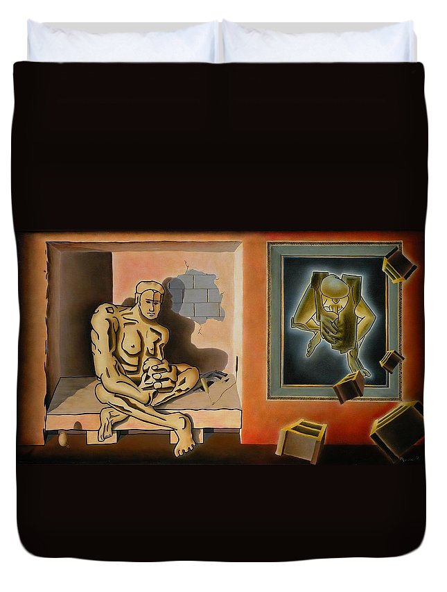 Surreal Duvet Cover featuring the painting Surreal Portents Of Genius by Dave Martsolf