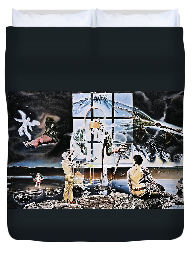 Surreal Duvet Cover featuring the painting Surreal Windows Of Allegory by Dave Martsolf