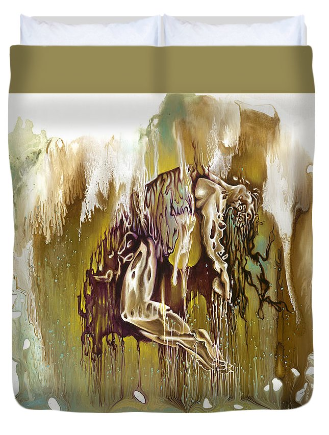 Surrender Duvet Cover featuring the painting Surrender by Karina Llergo