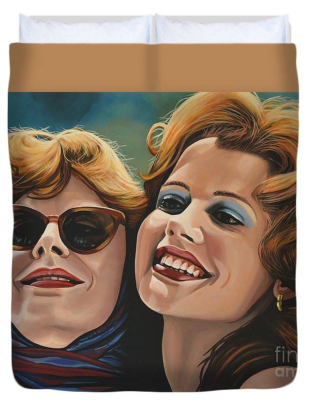 Susan Sarandon Duvet Cover featuring the painting Susan Sarandon And Geena Davies Alias Thelma And Louise by Paul Meijering