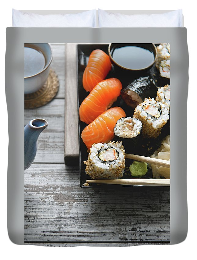 Seaweed Duvet Cover featuring the photograph Sushi And Tea by A.y. Photography