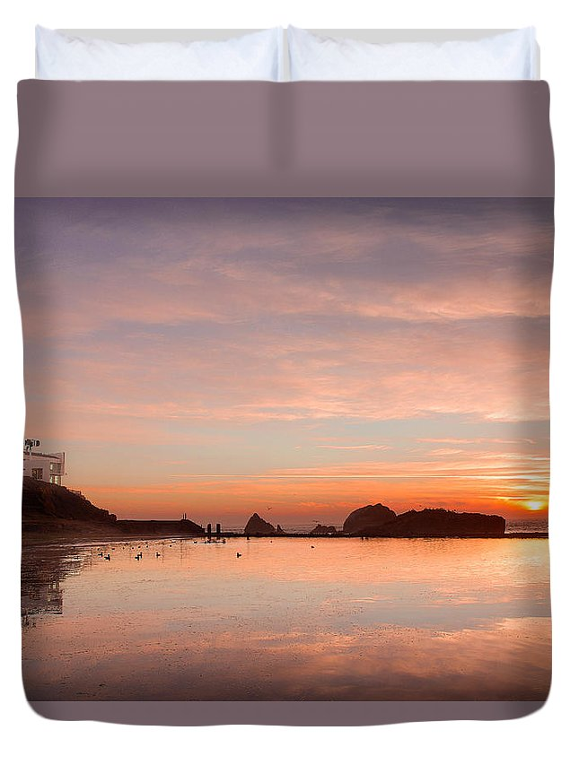 California Duvet Cover featuring the photograph Sutro Baths by Kyle Simpson