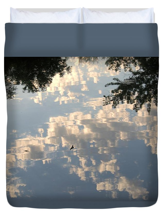 Bird Duvet Cover featuring the photograph Swallow Reflection by Bonfire Photography