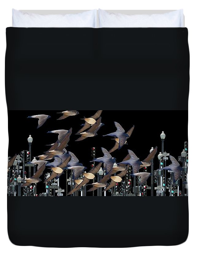 Swallows Duvet Cover featuring the photograph Swallows In The City by George Pedro