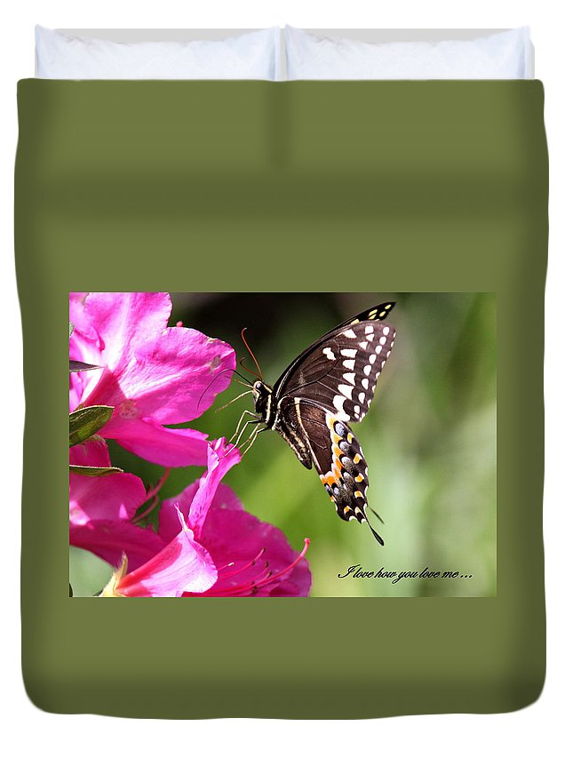 Butterfly Duvet Cover featuring the photograph Swallowtail And Azalea - Love by Travis Truelove