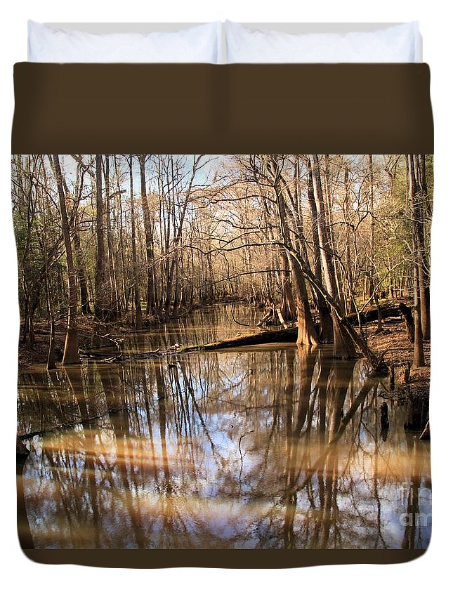 Congaree National Park Duvet Cover featuring the photograph Swamp Reflections by Adam Jewell
