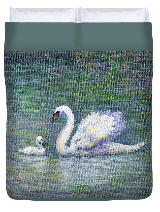 Swan Duvet Cover featuring the painting Swan And One Baby by Linda Mears