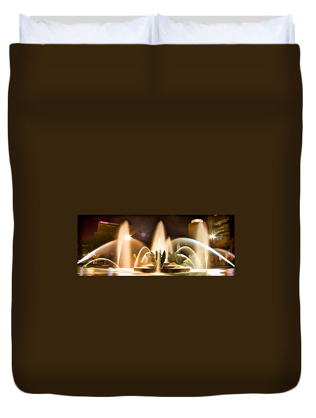 Night Swan Fountains Philadelphia Duvet Cover featuring the photograph Swan Fountains by Alice Gipson