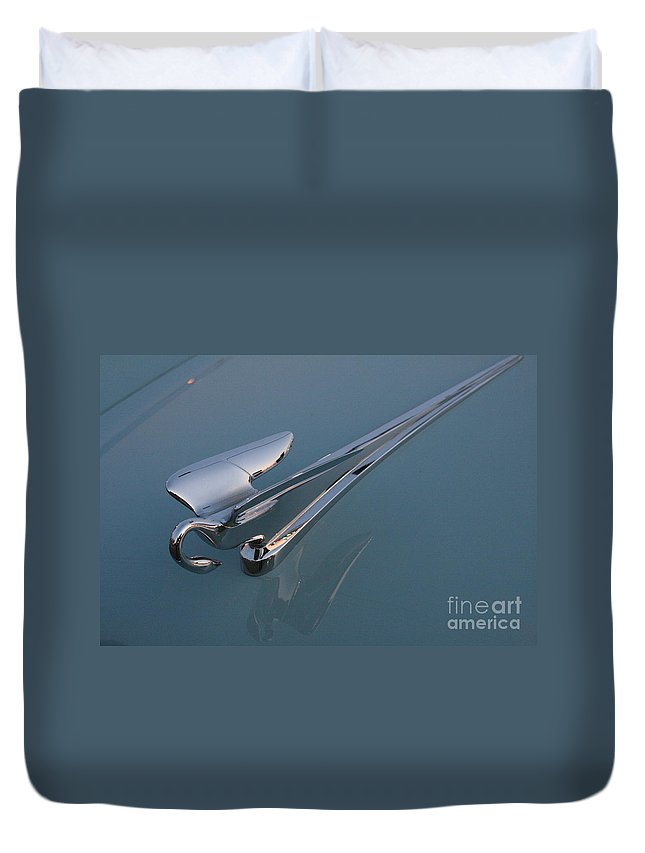 hood Ornament Duvet Cover featuring the photograph Swan Hood Ornament 1 by Crystal Nederman