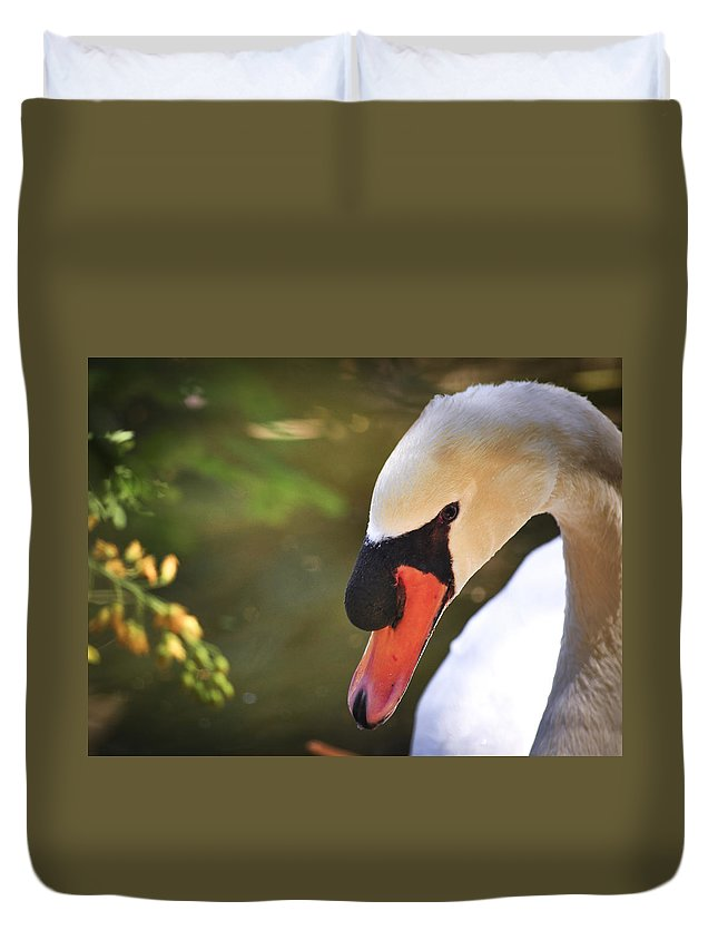 2013 Duvet Cover featuring the photograph Swan On A Lake by Diane Wood