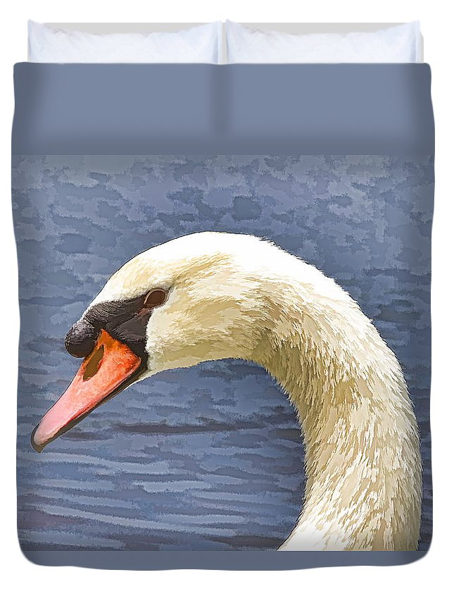 Swan Closeup Bird Water Duvet Cover featuring the photograph Swan Portrait by Alice Gipson