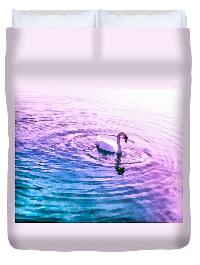 Swan Ripples Duvet Cover featuring the mixed media Swan Ripples by Priya Ghose