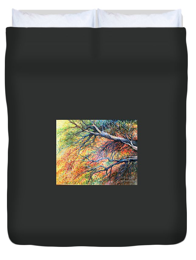 Landscape Duvet Cover featuring the drawing Sway Dancing Trees by Linda Shackelford