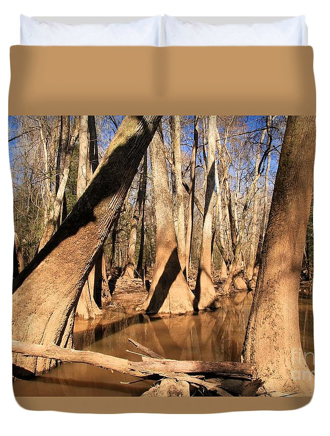 Congaree National Park Duvet Cover featuring the photograph Swayed by Adam Jewell