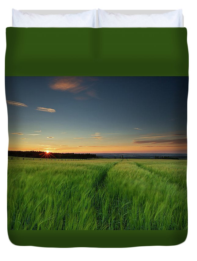Tranquility Duvet Cover featuring the photograph Swaying Barley At Sunset by By Simon Gakhar