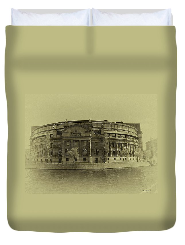 Sweden Duvet Cover featuring the photograph Swedish Parliament In Sepia by Ramon Martinez