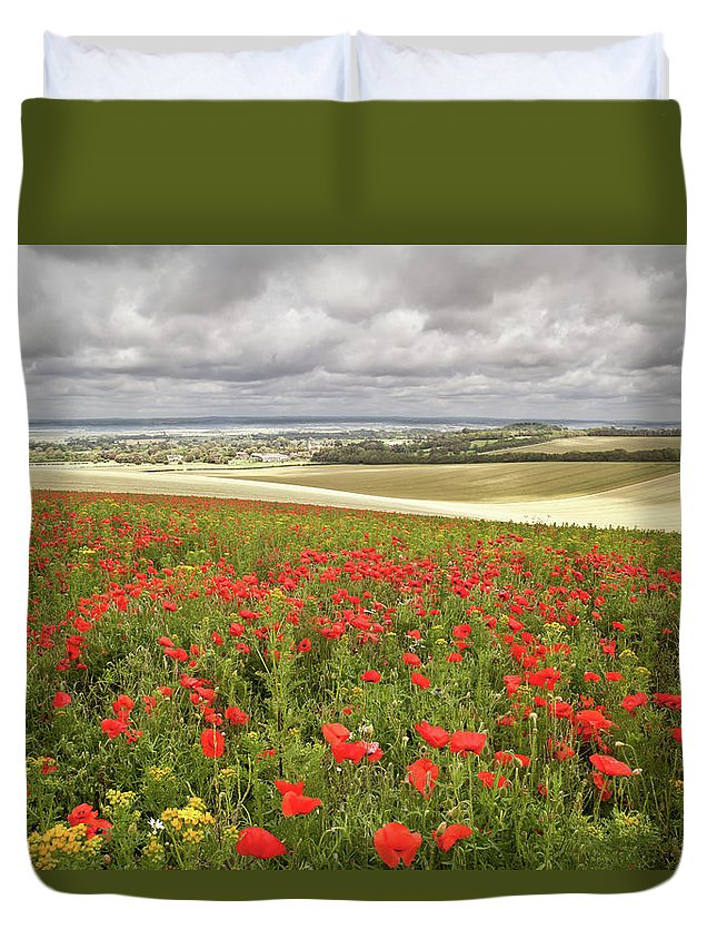 Scenics Duvet Cover featuring the photograph Sweeping Golden Fields by Getty Images