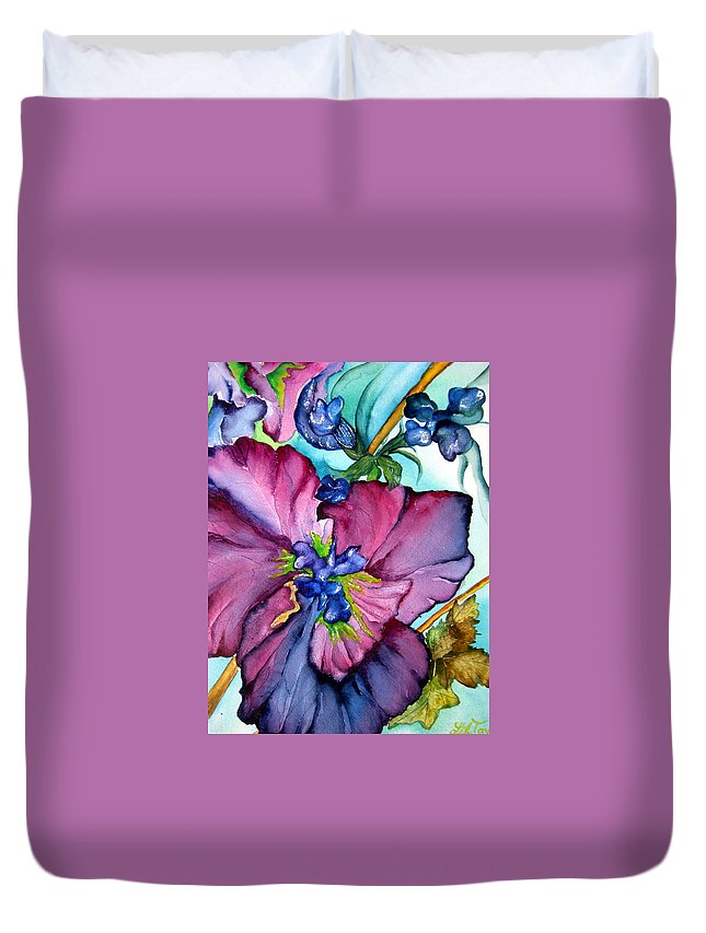 Wildflowers Duvet Cover featuring the painting Sweet And Wild In Turquoise And Pink by Lil Taylor