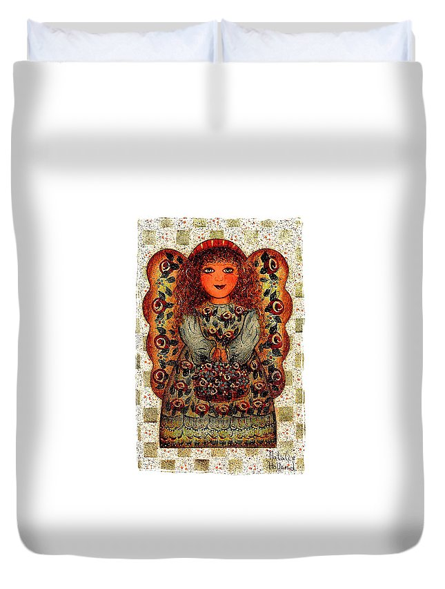 Angel Duvet Cover featuring the drawing Sweet Angel by Natalie Holland