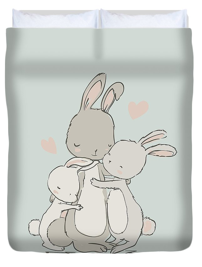 Child Duvet Cover featuring the digital art Sweet Hares - Mom And Kids by Cofeee