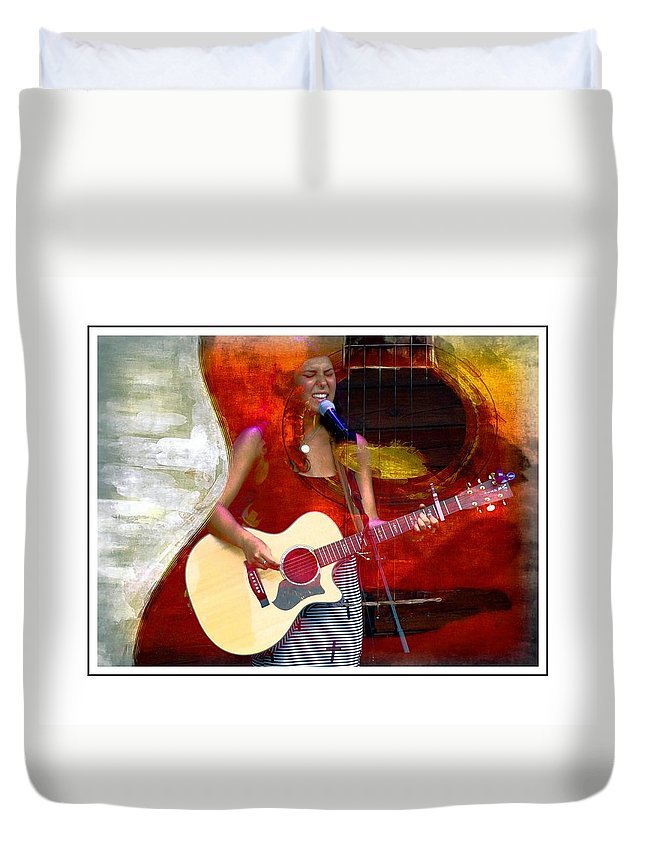 Guitar Duvet Cover featuring the photograph Sweet Music by Alice Gipson