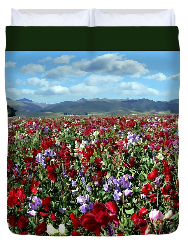 Flowers Duvet Cover featuring the photograph Sweet Peas Forever by Kurt Van Wagner