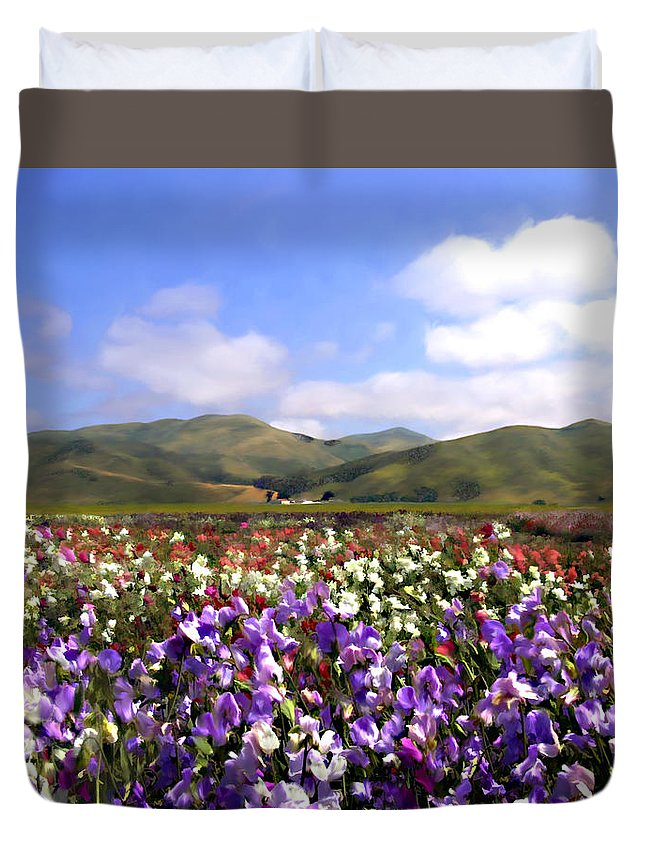 Flowers Duvet Cover featuring the photograph Sweet Peas Galore by Kurt Van Wagner
