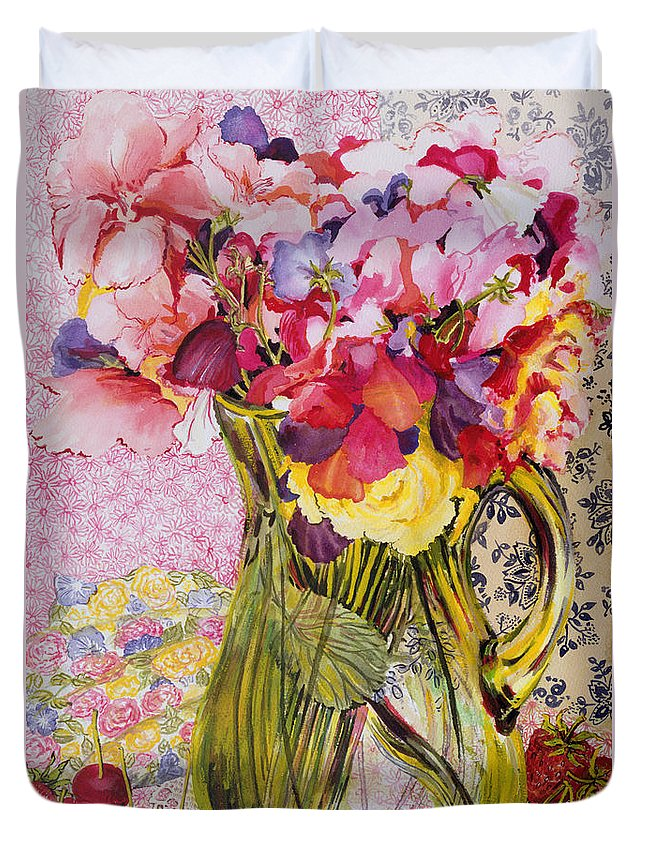 Fruit; Still Life; Glass Jug Duvet Cover featuring the painting Sweet Peas With Cherries And Strawberries by Joan Thewsey
