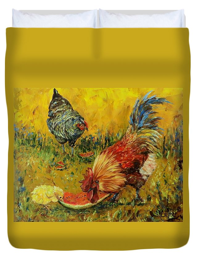 Nature Duvet Cover featuring the painting Sweet Pickins, Chickens by Sandra Reeves