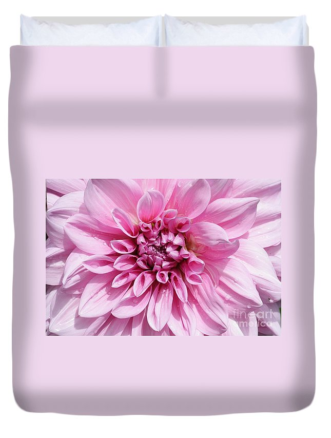 Pink Duvet Cover featuring the photograph Sweet Pink Dahlia by Carol Groenen
