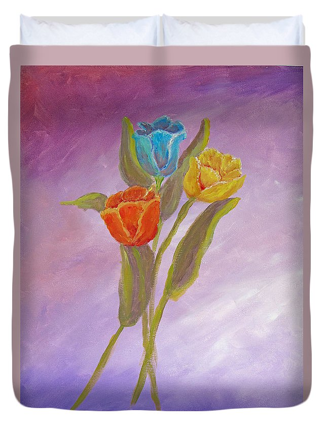 Floral Duvet Cover featuring the painting Sweet Tulips by Barbara McDevitt