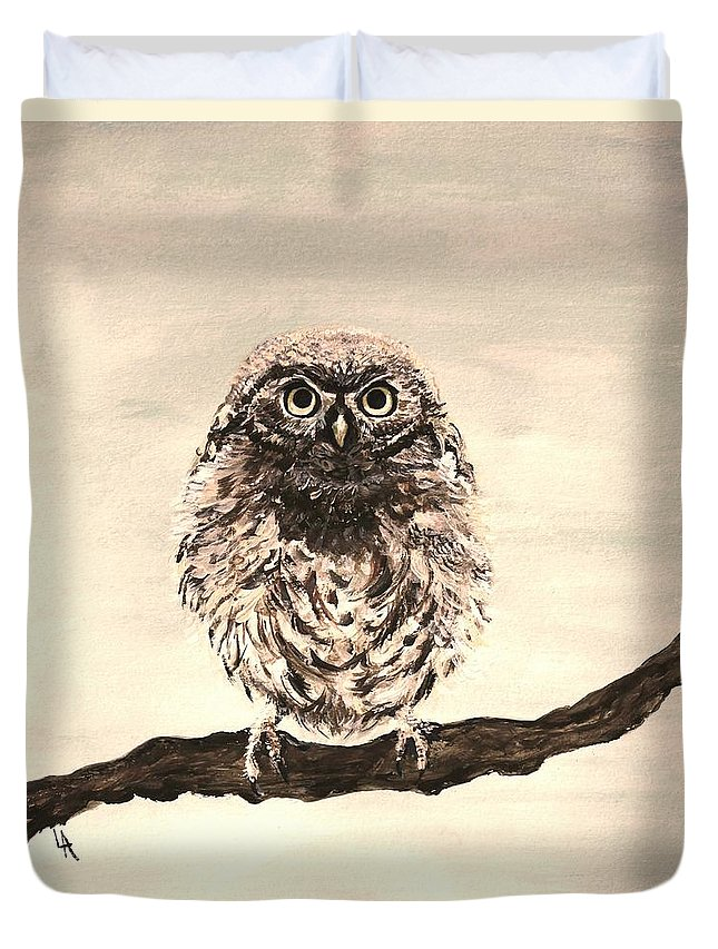 Owl Duvet Cover featuring the painting Sweetest Owl by Leslie Allen