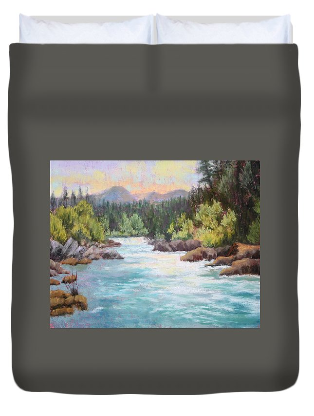 River Duvet Cover featuring the painting Swiftwater by Nancy Jolley