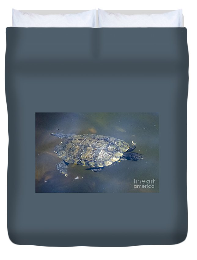 Turtle Duvet Cover featuring the photograph Swimming Turtle by Dale Powell