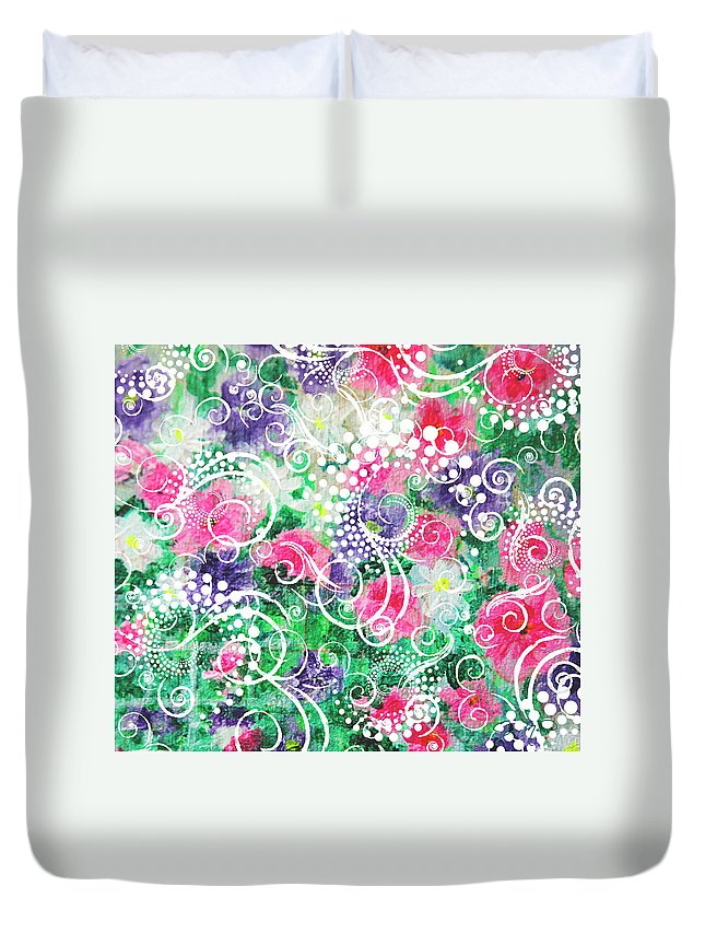 Flowers Duvet Cover featuring the painting Swirl Dots By Jan Marvin by Jan Marvin