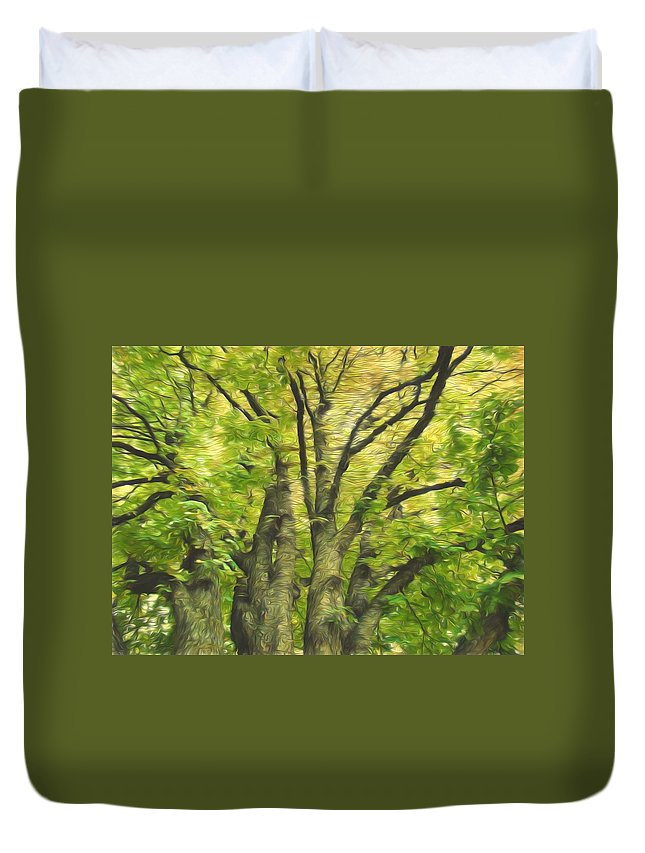 Green Tree Duvet Cover featuring the photograph Swirls Of Green by Alice Gipson