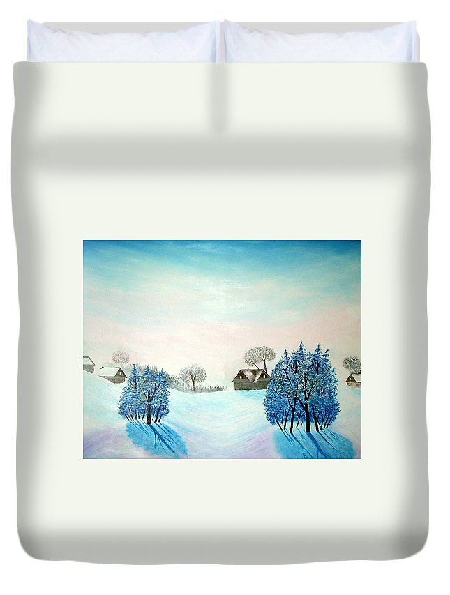 Switzerland Duvet Cover featuring the painting Swiss Opus Blue Christmas by Reggie Hart
