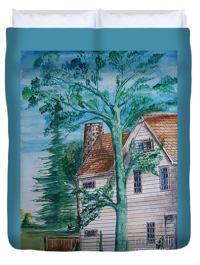 Sycamore Tree Duvet Cover featuring the painting Sycamore Tree Lllustration by Eric Schiabor