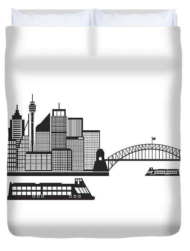 Australia Duvet Cover featuring the photograph Sydney Australia Skyline Black And White Illustration by Jit Lim