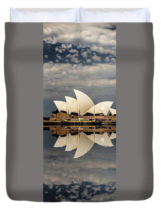Sydney Opera House Duvet Cover featuring the photograph Sydney Opera House With Clouds by Sheila Smart Fine Art Photography
